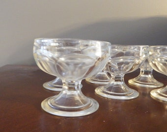 Set of 6 DESSERT DISHES,  Dessert, Dishes,Federal Glass dishes,Ice Cream dishes, Sherbet Dishes,Sorbe Dishes