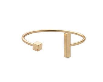 Cute & Simple Cube and Long Rectangle Stick Geometric Gold Cuff Bangle Bracelet