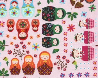 Russian Dolls Jubilee Fabric - Pink - sold by the 1/2 yard