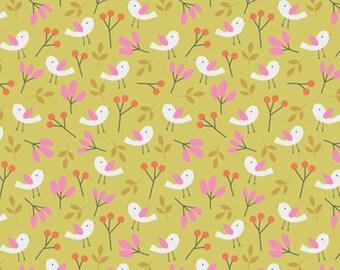 Spring Walk - Spring Birds Organic Fabric - Citron - Sold by the 1/2 Yard