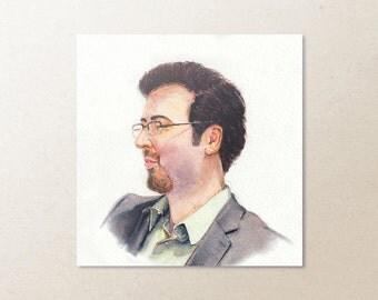 Custom Watercolor Mini Portrait Original