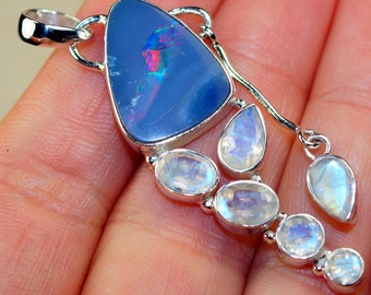 Australian Fire Opal with Rainbow Moonstone & 925 Sterling Silver Pendant