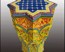 Amarillo Carved / Painted / Mosaic Inlaid Moroccan Star Table