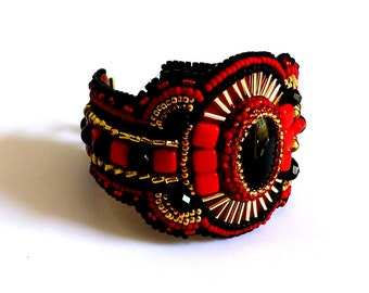 Embroidered red and black onyx Cuff Bracelet