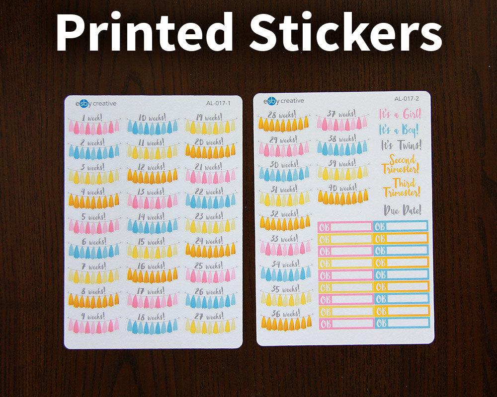 pregnancy tracker planner stickers tassel banner printed stickers al 017 from esbycreative on