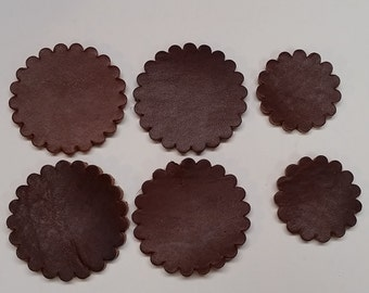 "Leather Concho Rosette - 2"" Concho in Brown Leather"
