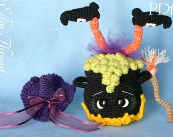 Elfin Thread -Halloween Witch Cauldron Amigurumi PDF Pattern (Crochet Witch Cauldron decor pattern)