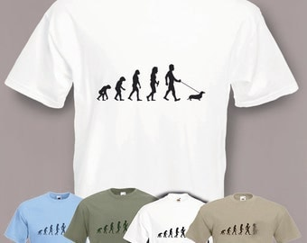 Evolution To Dachshund t-shirt Funny Sausage Dog T-shirt sizes Sm To 2XXL