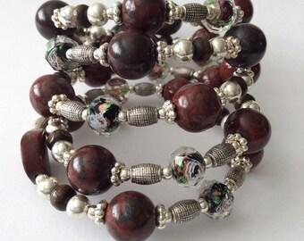 Silver Wrap Bracelet, GemStone Silver Glass Bracelet, Womens jewelry bracelet, gifts for her, gemstone Wrap bracelet, Wrap Around bracelet,