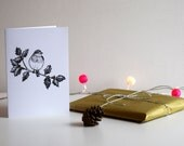 Gold Robin and Holly, A6 Greeting Card, Christmas Card
