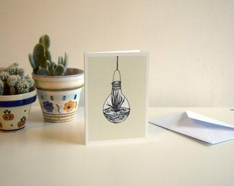 Pale Yellow Light Bulb Terrarium - A6 Botanical Illustration Greeting Card