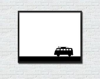 Cute Black White Kombi Campervan INSTANT PRINTABLE DOWNLOAD Wall Art Digital Poster Print Silhouette Surf Wanderlust Modern Minimalist