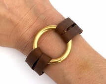 Leather & Brass Ring Bracelet, O Ring and Your Choice of Leather - Eternity Bracelet
