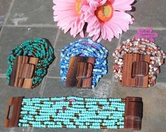 10 Strand Beaded Cuff Boho Style Bracelet with Wood Buckle Clasp