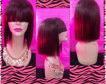 Short/Straight Blunt Cut Bob With Chinese Bang (100% human hair)
