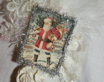 Christmas Gift Tag Card Holder Vintage Christmas