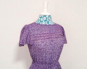 Vintage 1970's dress // purple floral // 70's  flutter sleeve gauze romance