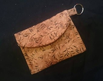Brown vines handsewn cotton chain wallet