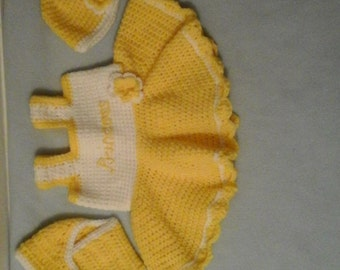 On sale!!!! Dress set includes dress, hat, booties, gloves and diaper cover