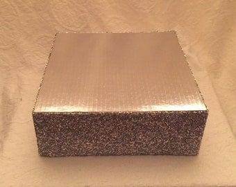 "ELEGANT SQUARE Cake Stand  4x16  Mini Mirror Mosaics Sizes   8"", 10"", 12"", 14"", 16"", 18"", 20"" Reversible Finishes"