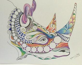 Zentangle colored rhino,safari animal,rhino head,colored zentangle,ink colored pencils,wall art, wall decor,