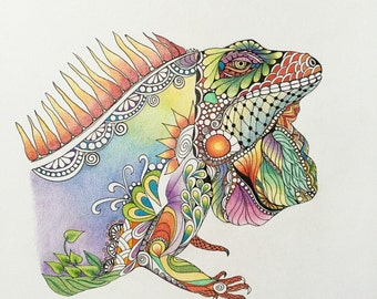 Zentangle iguana,iguana art,colored zentangle,reptile art,ink colored pencils,wall art,wall decorzentangle art