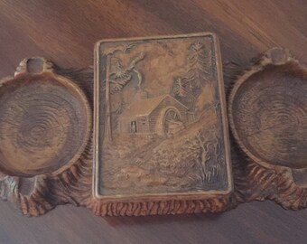 Vintage Syroco Box Cottage in the Woods Cigarette Box & Ashtrays Syroco Wood
