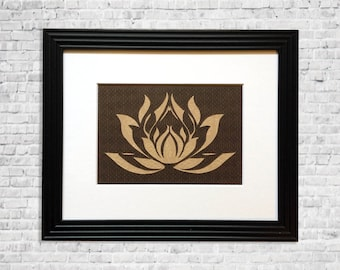 Lotus Flower Art, Papercut Art, Modern Flower Wall Art, Natural Brown Yoga Decor, Lotus Flower Wall Art, Spring Decor, Lotus Decor, 8x10
