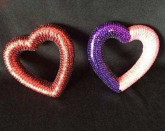 Sequin heart frame 15 cm