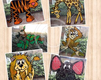 Giraffe, tiger, lion, snake, elephant, monkey window cling, jungle safari decals, reusable static cling, faux stained glass decal