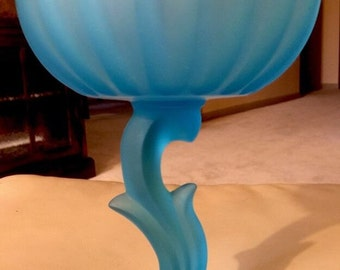 Vintage Indiana Glass Must Pale Blue Satin Glass Tulip Shaped Compote #1171