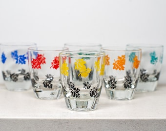 Retro Shot Glasses Featuring Leaves - Colourful Set of Six - French