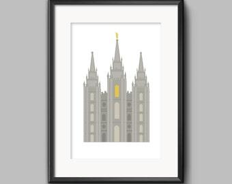 Salt Lake City Temple, Salt Lake Temple, Salt Lake Temple Print, Salt Lake City Temple Printable, LDS Temple Art, LDS Temple Printable