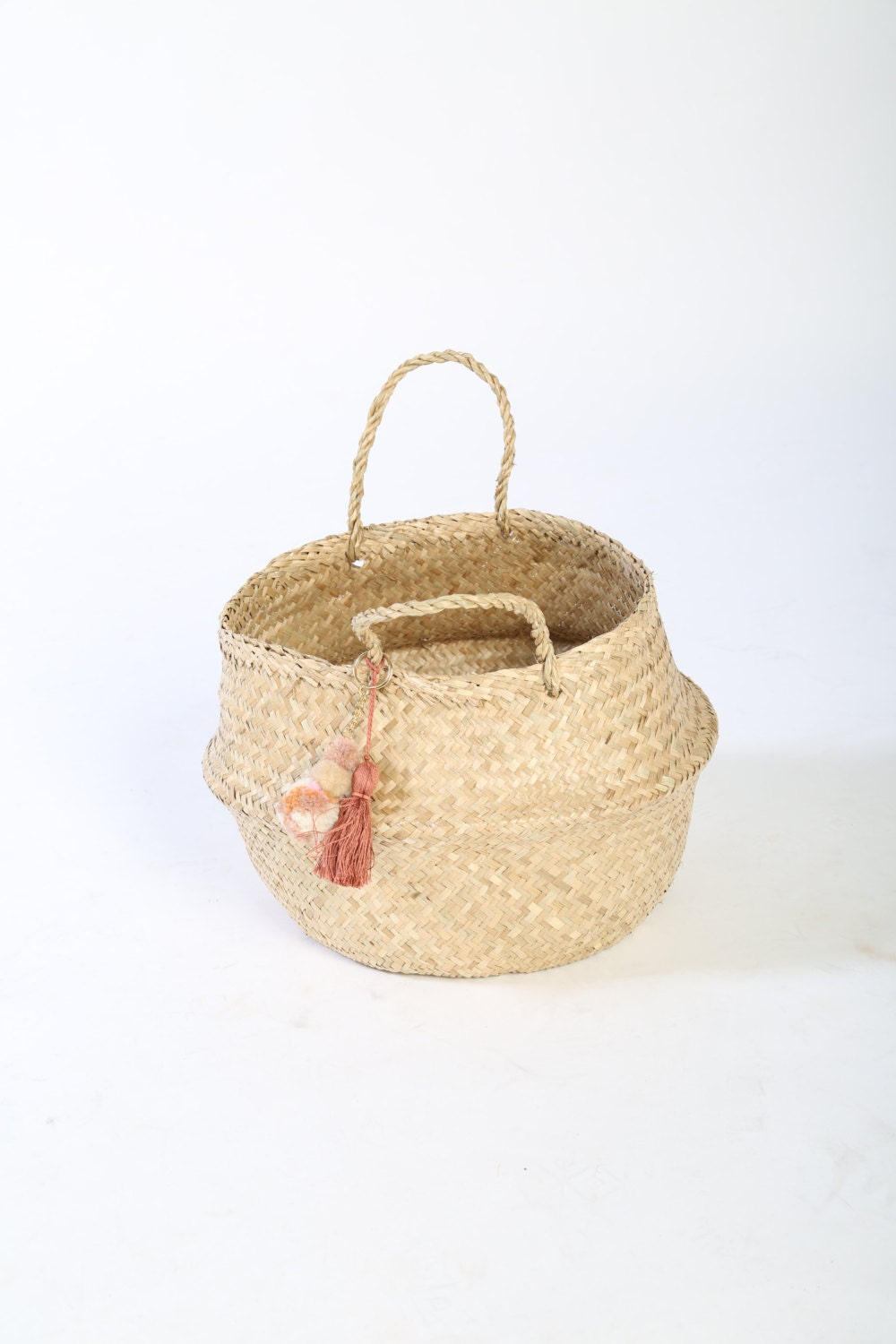 Wicker Basket With Pom Poms : Handwoven seagrass basket with tassel and pom keychain