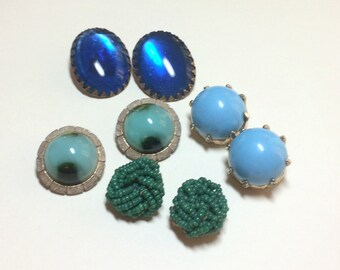 Lot of 4 pairs of vintage earrings, vintage earring lot, clip earrings, blue and green clip earring lot, craft lot 1950s 1960s E54