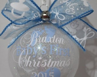 """Babys First christmas ornament personalized Girl or Boy with year and baby's name. 4"""" round ornament your choice of Acrylic or Glass."""