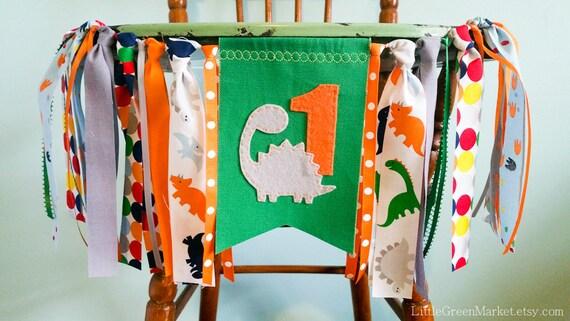 Birthday Banner, 1st birthday banner, highchair banner, Dino birthday ...