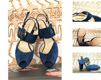 Designer New Italian Shoes  High heels Block heel sandals Party shoes Blue suede shoes Made in Italy Wedding shoes