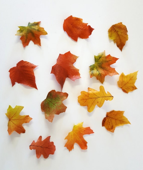 Edible Fall Leaves, Wafer Paper Toppers for Cakes, Cupcakes or Cookies, Wedding Cake Decorations - Color on Both Sides