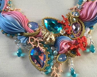 Shibori,jewelry , necklace, crystals , pearls,coral ,party on the beach