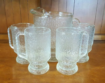 Clear Glass Tree Bark Pitcher and Mug Set