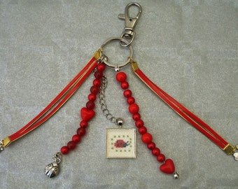 Bag charm or Keychain cabochon embroidered lucky charm