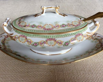 M. Redon Limoges P L Limoges France Covered Gravy Boat with Attached Underplate