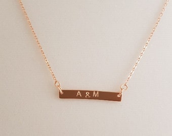 Name Necklace Rose Gold Necklace Bar Necklace Letter Necklace Initial Necklace Gold bar necklace