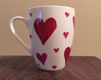 Red hearts mug