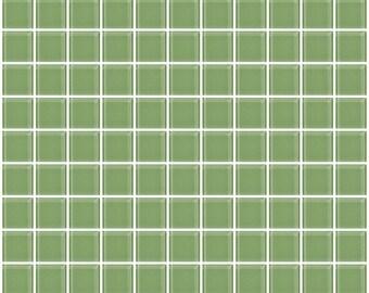 1-inch light sage green glass tile