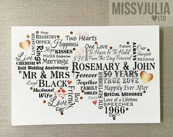 Golden Wedding Anniversary Gift 50 Years Personalised Gold Plaque Sign W261