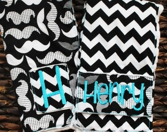 Mustache and chevron burp cloths, baby boy burp cloth set, black and white baby custom monogram initial burp cloths