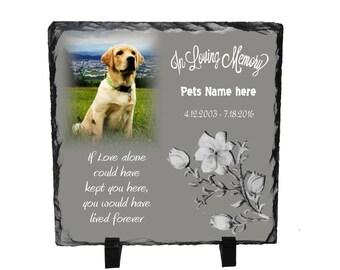 """8"""" x 8"""" Pet Memorial Stone-Photo Slate. In loving Memory, Pet loss gift"""