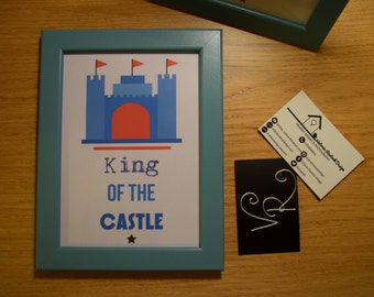 "Boys Castle Print. ""King Of The Castle"" 7x5 Framed Print"